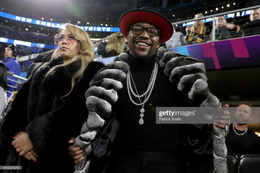 Boxer Floyd Mayweather Jr Looks On During Super Bowl Lii Between The Picture Id914337270?s=28
