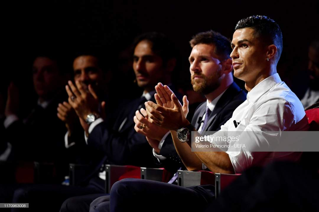 Cristiano Ronaldo Of Juventus And Lionel Messi Of Fc Barcelona React Picture Id1170963008?s=28