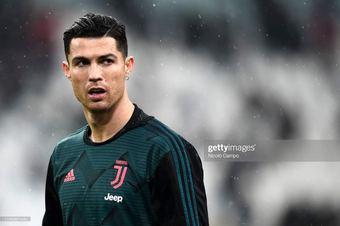 Cristiano Ronaldo Of Juventus Fc Looks On As He Wearing A Earring Picture Id1185967445?s=28