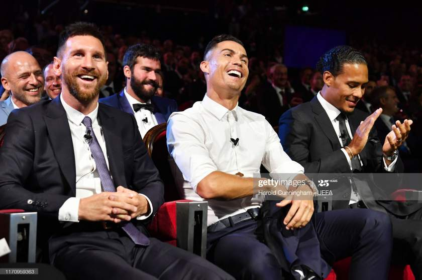 Cristiano Ronaldo Of Juventus Lionel Messi Of Fc Barcelona And Virgil Picture Id1170959363?s=28