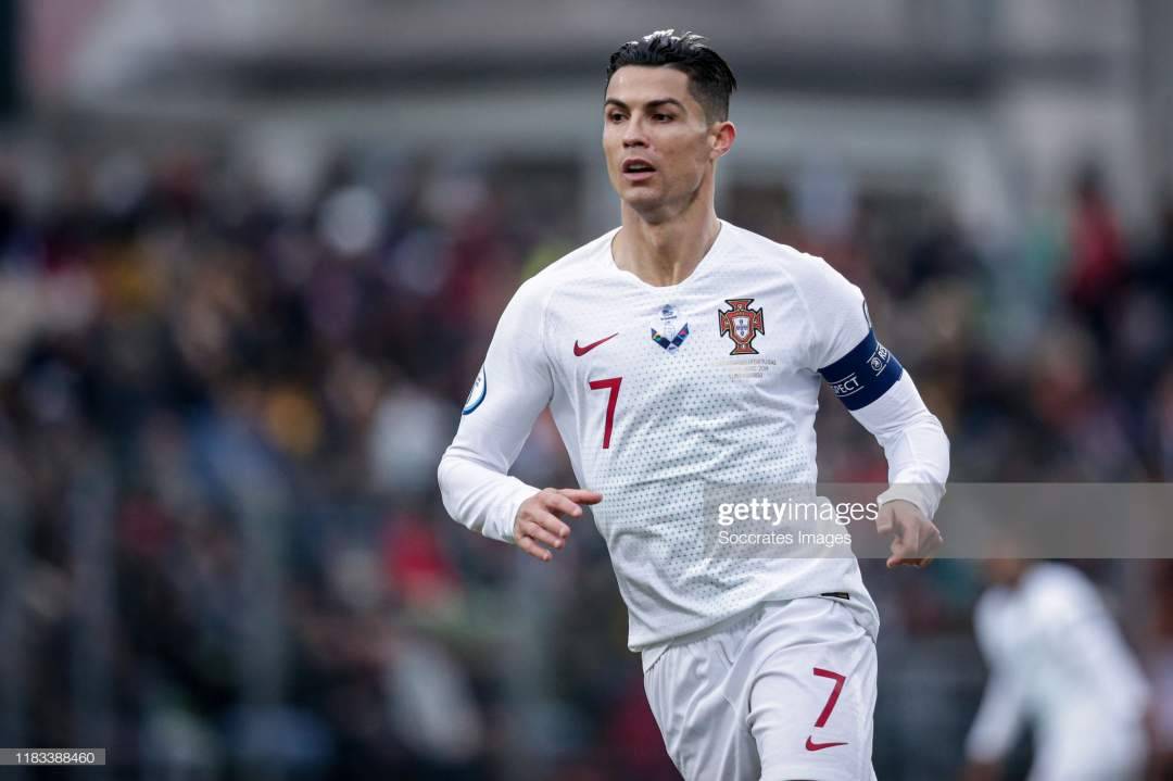 Cristiano Ronaldo Of Portugal During The Euro Qualifier Match Between Picture Id1183388460?s=28