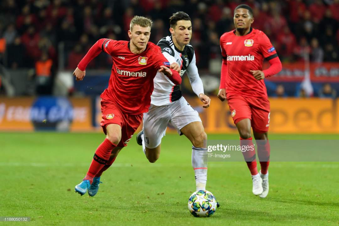 Daley Sinkgraven Of Bayer Leverkusen And Christiano Ronaldo Of For Picture Id1188050132?s=28