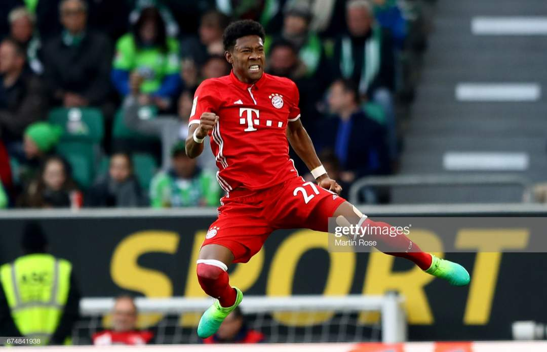 David Alaba Of Muenchen Celebrates After Scoring The Opening Goal The Picture Id674841938?s=28