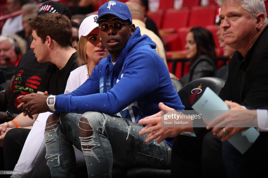 Footballer Paul Pogba Attends The Game Between The Miami Heat And Picture Id1183663493?s=28