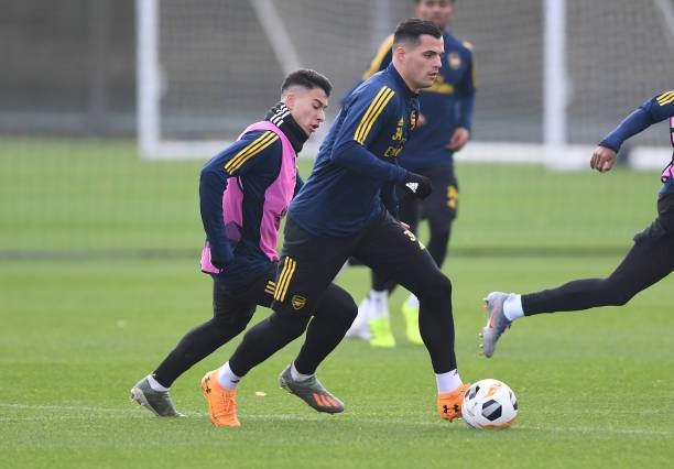 Granit Xhaka Of Arsenal During A Training Session At London Colney On Picture Id1185660014?k=6&m=1185660014&s=&w=0&h=eDvyBoz6XE2FeDW457yD Ife6mI7GSvsfPV4NW90htE=