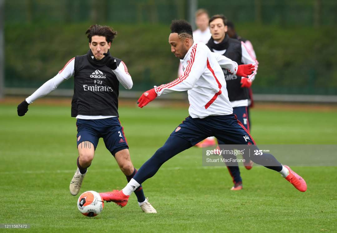 Hector Bellerin And Pierreemerick Aubameyang Of Arsenal During A At Picture Id1211587472?s=28