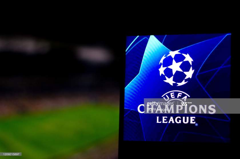 In This Photo Illustration A Uefa Champions League Logo Seen On A Picture Id1209215897?s=28