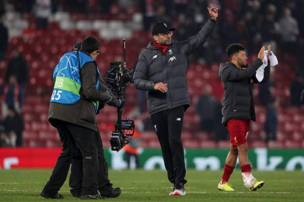 Jurgen Klopp The Head Coach Manager Of Liverpool Acknowledges The At Picture Id1180290811?k=6&m=1180290811&s=&w=0&h= KXLVIsx3vyjRKsmcUH7ksiVFBuZs3c5k_MISdAsowU=