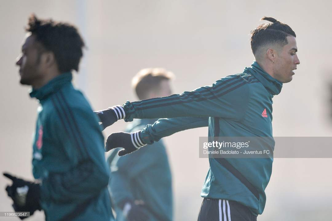Juventus Player Cristiano Ronaldo During A Training Session At Jtc On Picture Id1196823547?s=28
