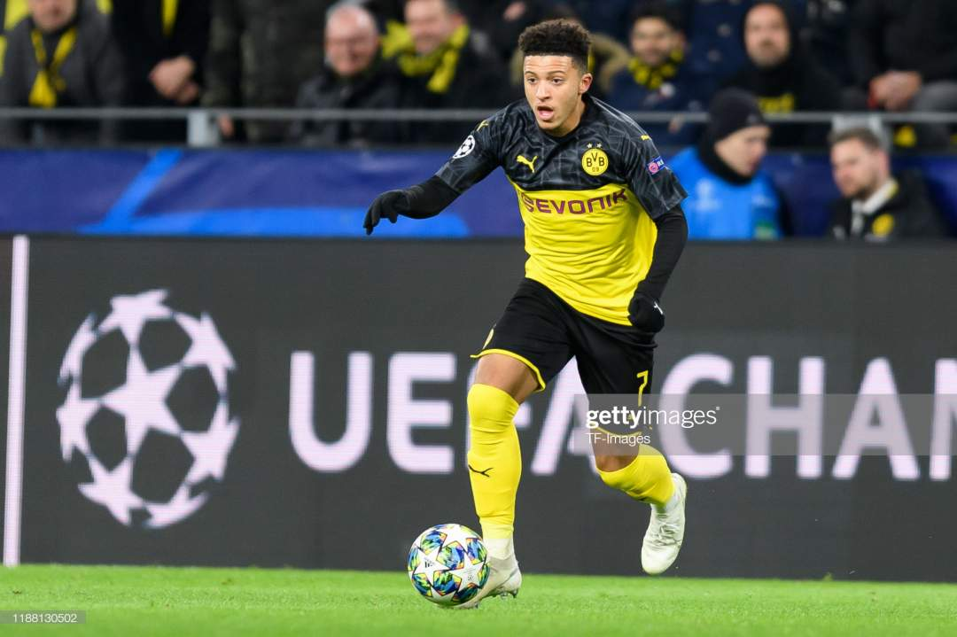 Jadon Sancho Of Borussia Dortmund Controls The Ball During The Uefa Picture Id1188130502?s=28
