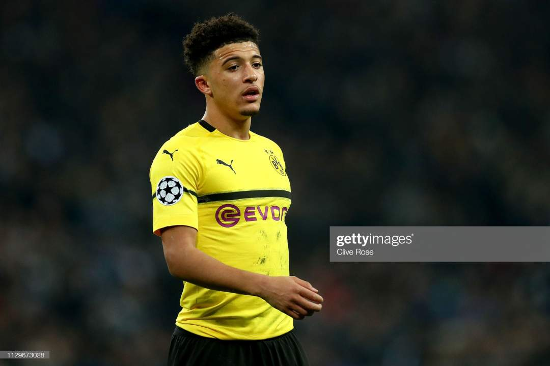 Jadon Sancho Of Borussia Dortmund Looks On During The Uefa Champions Picture Id1129673028?s=28