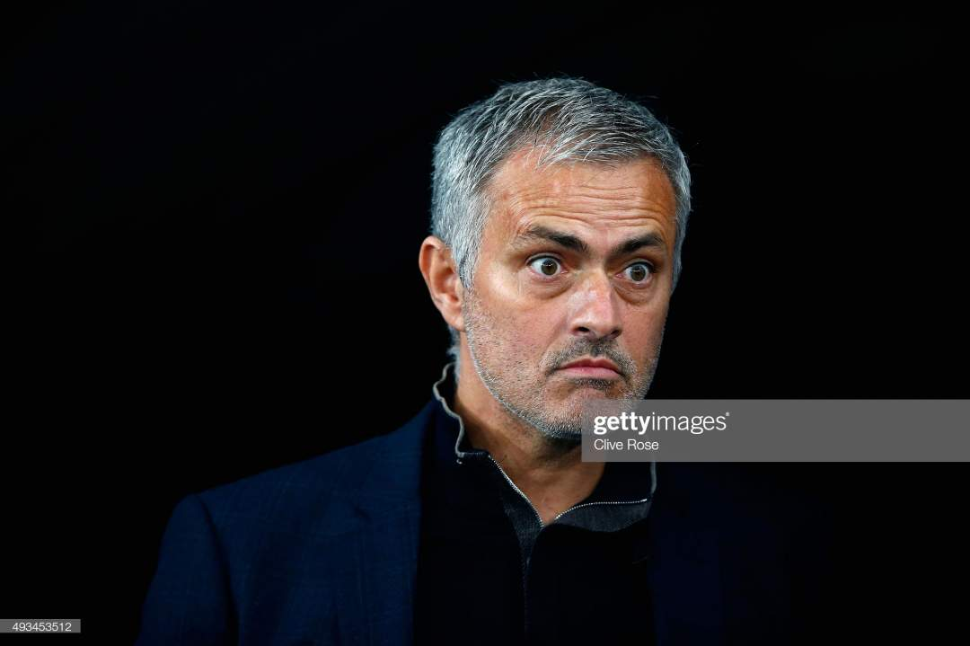 Jose Mourinho Of Chelsea Looks On Prior To Kick Off During The Uefa Picture Id493453512?s=28