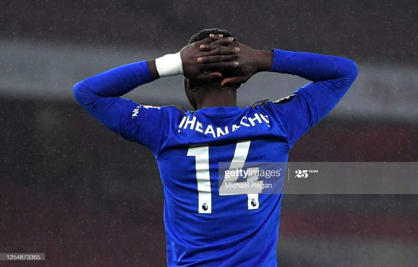 Kelechi Iheanacho Of Leicester City Reacts After A Missed Chance The Picture Id1254873365?s=28