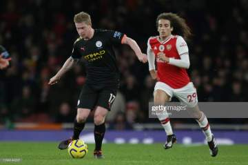 Arsenal set worst EPL record as De Bryne scores 2 goals to help Man city demolish Gunners 3-0 at Emirates