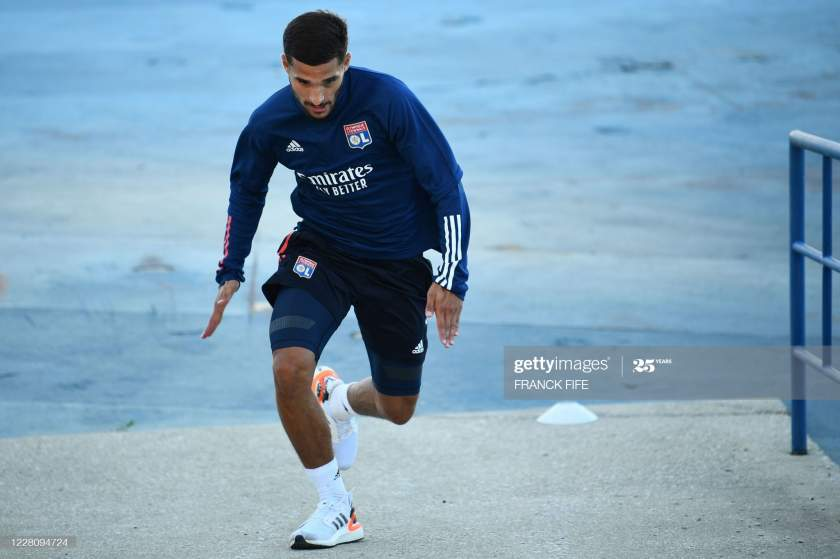 Lyons French Midfielder Houssem Aouar Attends A Training Session At Picture Id1228094724?s=28
