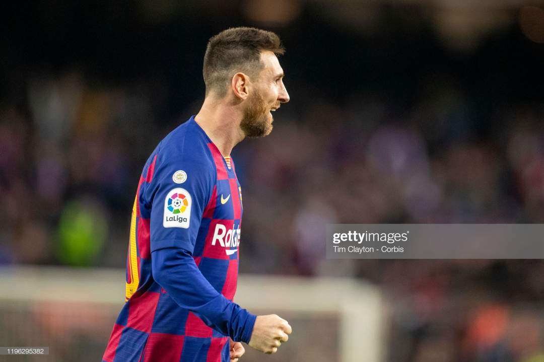 Lionel Messi Of Barcelona Celebrates After Scoring His Sides Third Picture Id1196295382?s=28