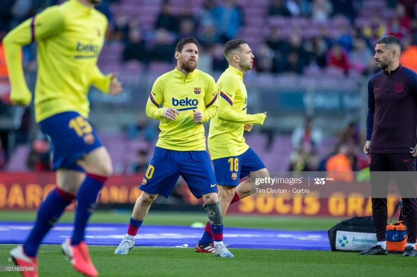 Lionel Messi Of Barcelona And Jordi Alba Of Barcelona During Team Up Picture Id1211637546?s=28
