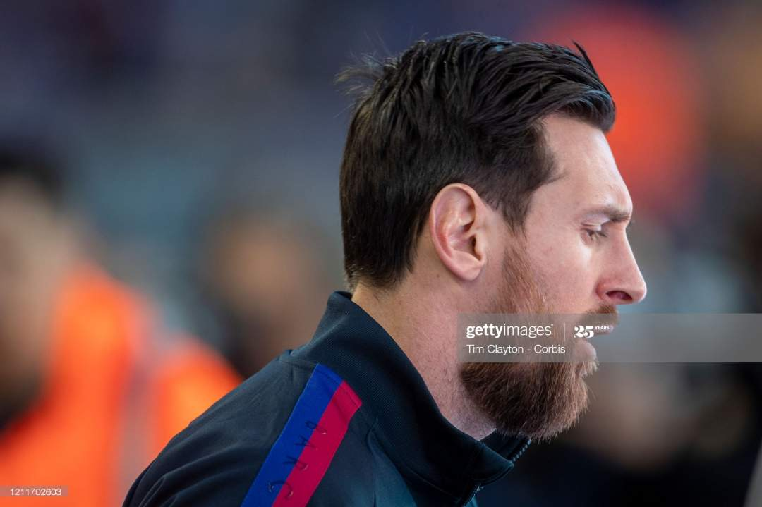 Lionel Messi Of Barcelona Leads His Team Onto The Field During The V Picture Id1211702603?s=28