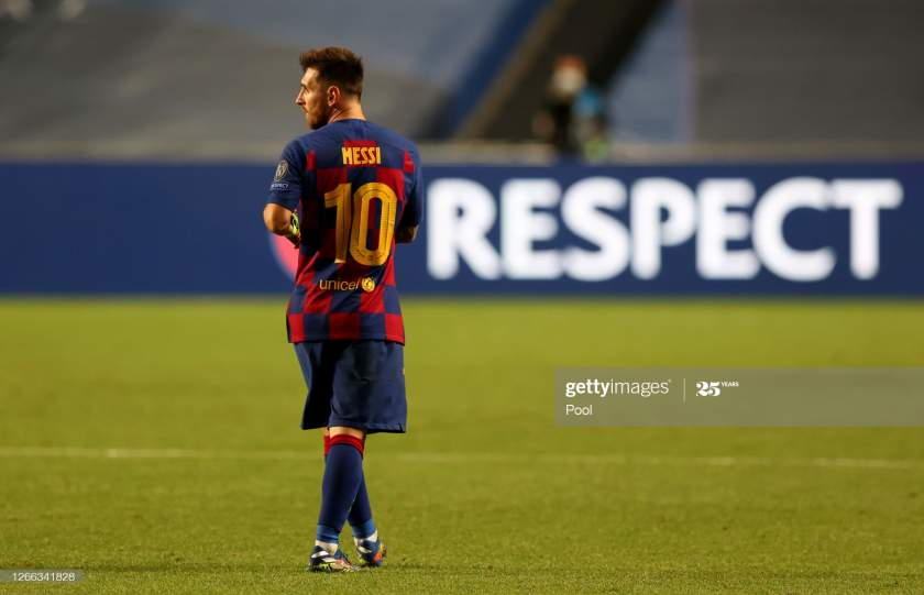 Lionel Messi Of Fc Barcelona Looks Dejected Following His Teams In Picture Id1266341828?s=28