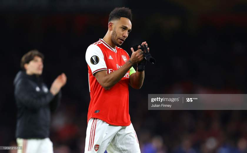 Pierreemerick Aubameyang Of Arsenal Fc Acknowledges The Fans After Picture Id1209121511?s=28