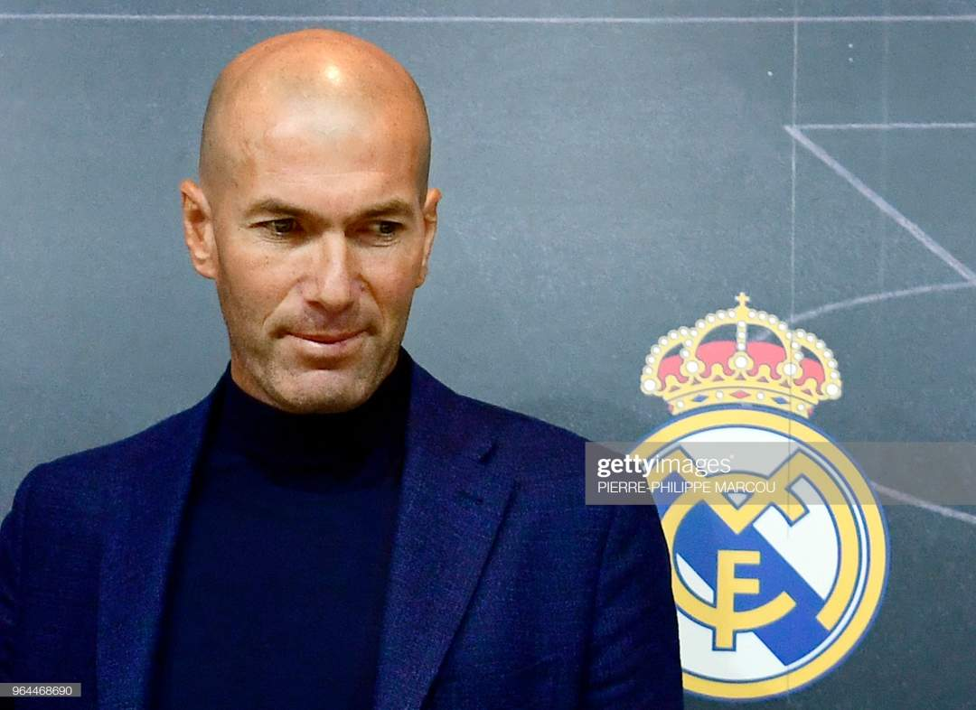 Real Madrids French Coach Zinedine Zidane Looks On After A Press To Picture Id964468690?s=28