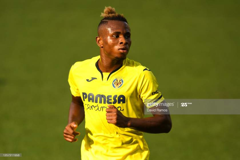 Samuel Chimerenka Chukwueze Of Villarreal Cf Looks On During The Liga Picture Id1257211958?s=28