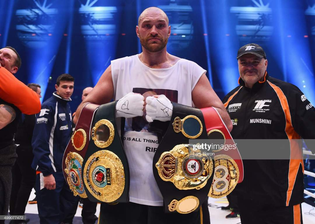 Tyson Fury Celebrates With Belts As He Defeats Wladimir Klitschko To Picture Id499077472?s=28