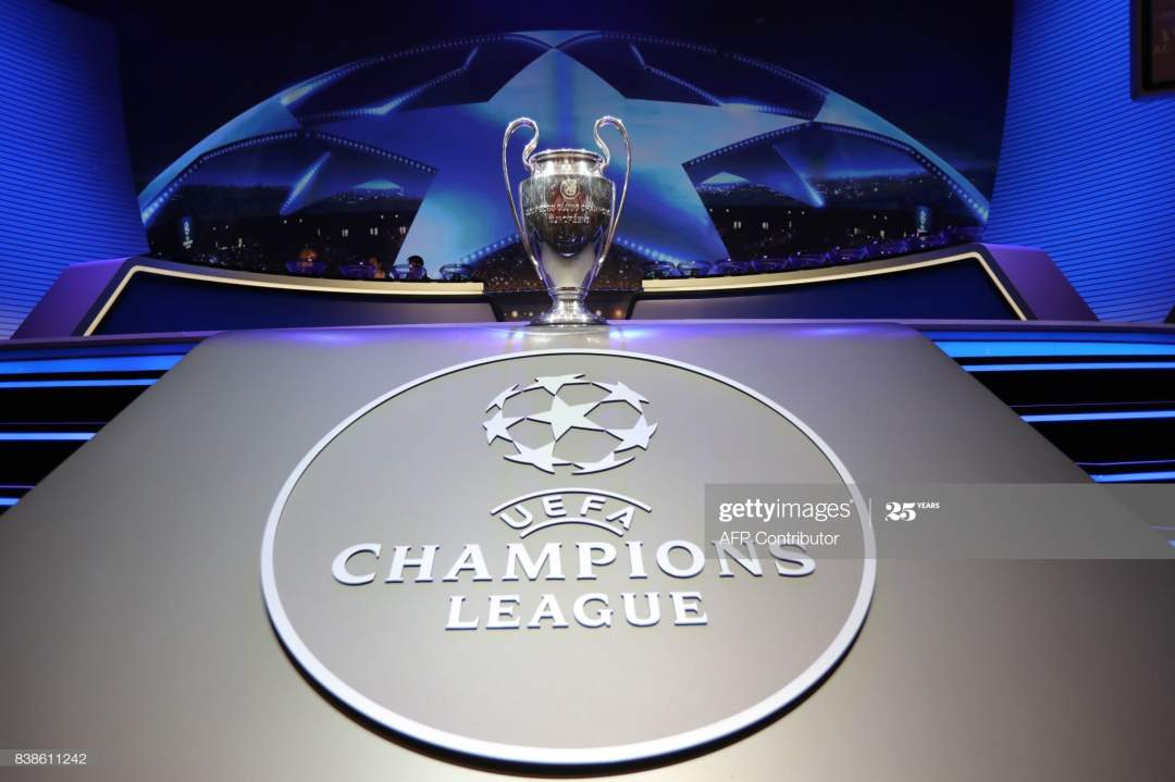 The Champions League Trophy Stands On Display During The Uefa League Picture Id838611242?s=28