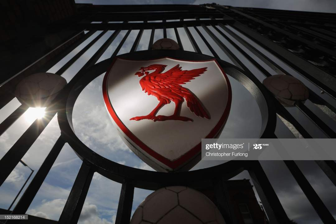 The Liverpool Football Club Emblem Is Displayed On The Gates Of On Picture Id152168214?s=28