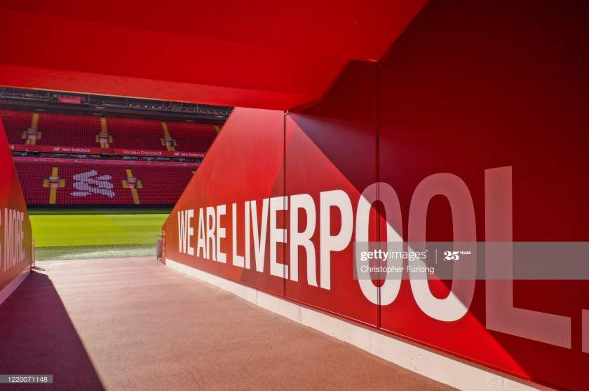 The Players Tunnel At Anfield Stadium The Home Liverpool Football Picture Id1220071148?s=28