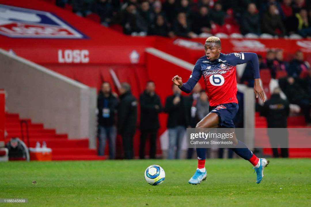 Victor Osimhen Of Losc Controls The Ball During The Ligue 1 Match Picture Id1188345899?s=28
