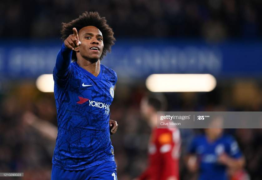 Willian Of Chelsea Celebrates After Scoring His Sides First Goal The Picture Id1210290023?s=28