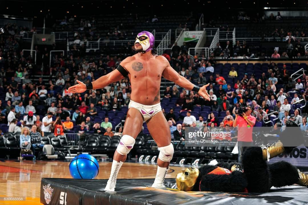 Wrestlers El Hijo Del Fantasma And La Parka Attend Latin Night With Picture Id630033358?s=28