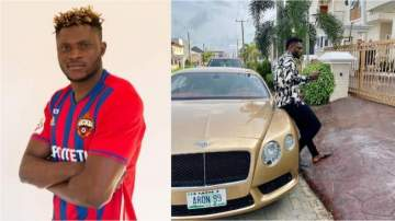 Super Eagles star flashes his gold coloured automatic Bentley Continental GT worth N38m (photo)