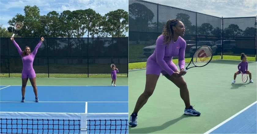 Serena Williams and her daughter seen playing tennis in matching outfits and everyone is talking about it (photos)
