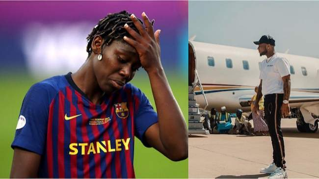 Nigerian star who plays for Barcelona begs for help from Davido, others, to return home amid COVID-19 crisis