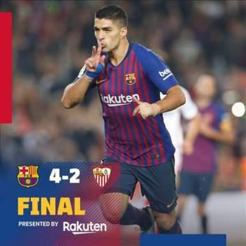 Messi, Suarez inspire Barcelona to 4-2 win over Sevilla at Camp Nou