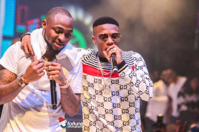 Davido's newfound romance with Wizkid continued at his final '30 Billion' concert. The singer brought Wizkid onstage at his concert. (Fortune)