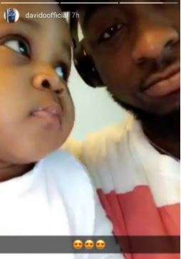 Davido pictured with his second daughter, Hailey (Instastory/DavidoOficial)