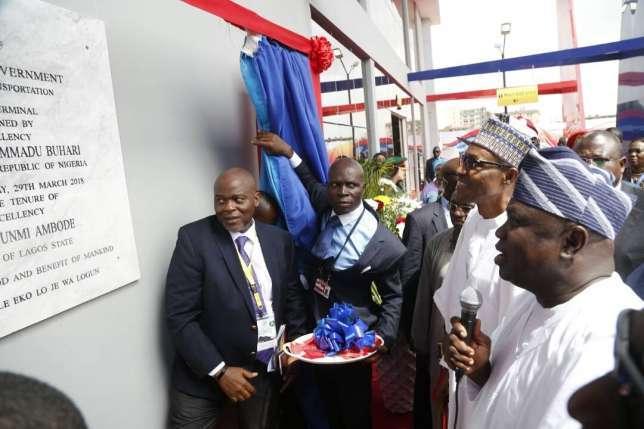 President Muhammadu Buhari Commissions Ikeja Bus Terminal With Lagos State Governor Akinwunmi Ambode