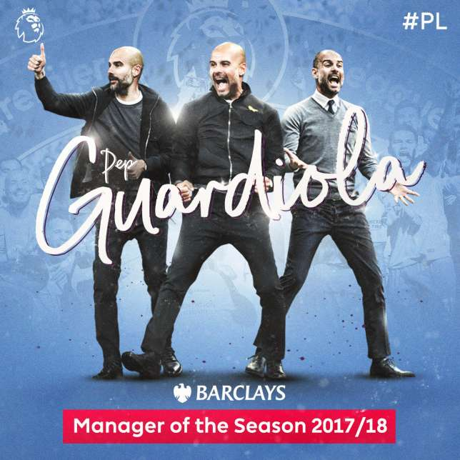 Pep Guardiola was voted the Barclays Coach of the Year (Premier League)