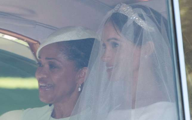 The bride and her mum, Doria Ragland with happy smiles on their faces on the royal wedding day. (Getty)