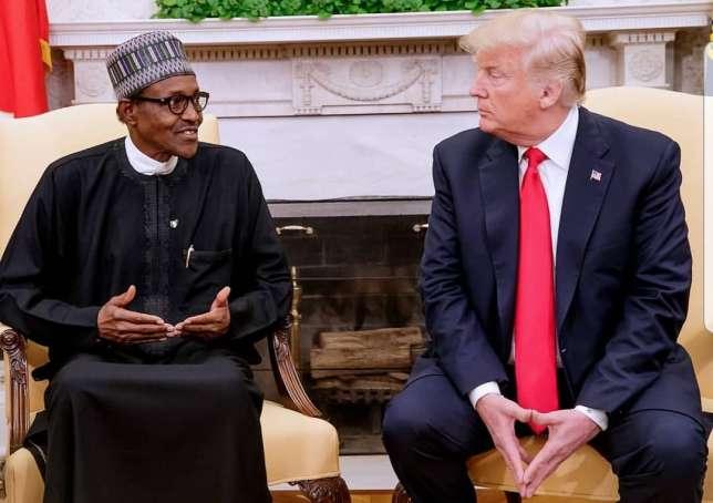 Nigerian President Muhammadu Buhari and US President Donald Trump meet at the White House on Monday, April 30, 2018. (Twitter)