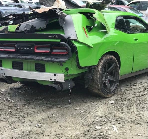 Offset's Dodge Challenger after his car crash (lib)