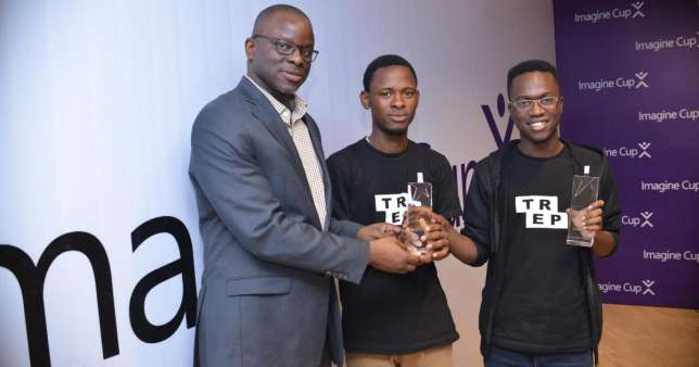 Taofeek Olalekan Afeez and Alayande Abdulwaheed Abiola, known as Team TREP of FUTA receive award at the Microsoft Office, Nigeria (Campusbiz)