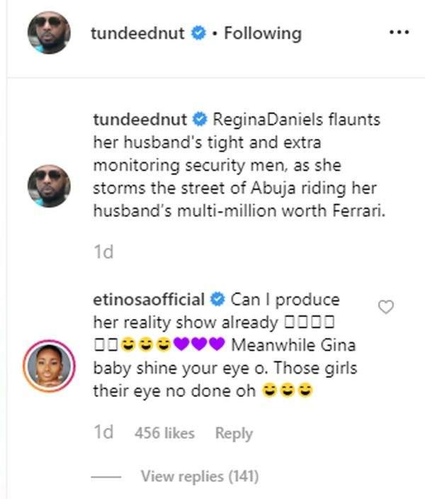 Etinosa Warns Regina Daniels