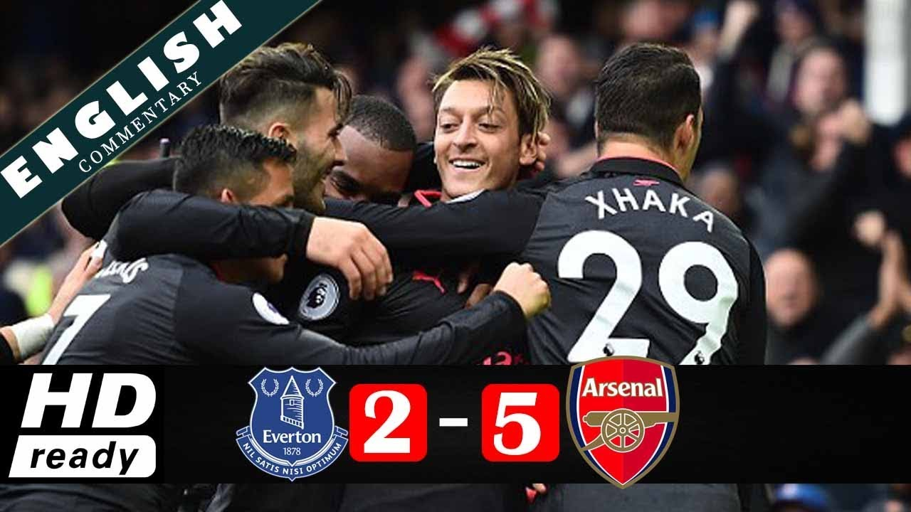 Everton 2 - 5 Arsenal (Oct-22-2017) Premier League Highlights