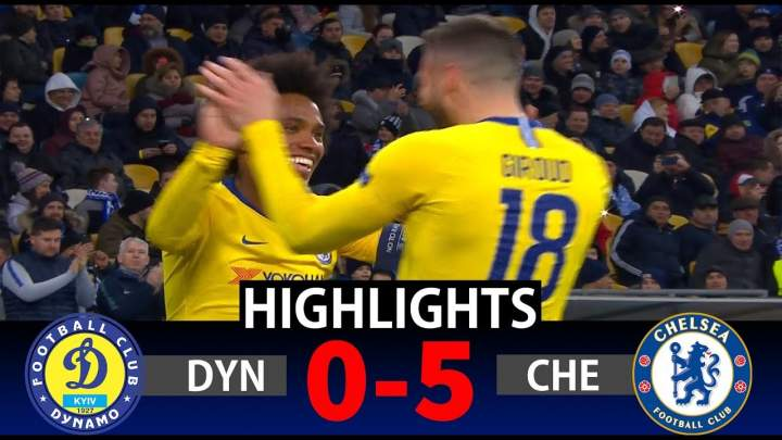 Dynamo Kyiv 0 - 5 Chelsea (Mar-14-2019) Europa League Highlights